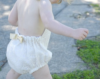 Luxe Cream and Gold Lace play suit with feature bow - sizes 00-2