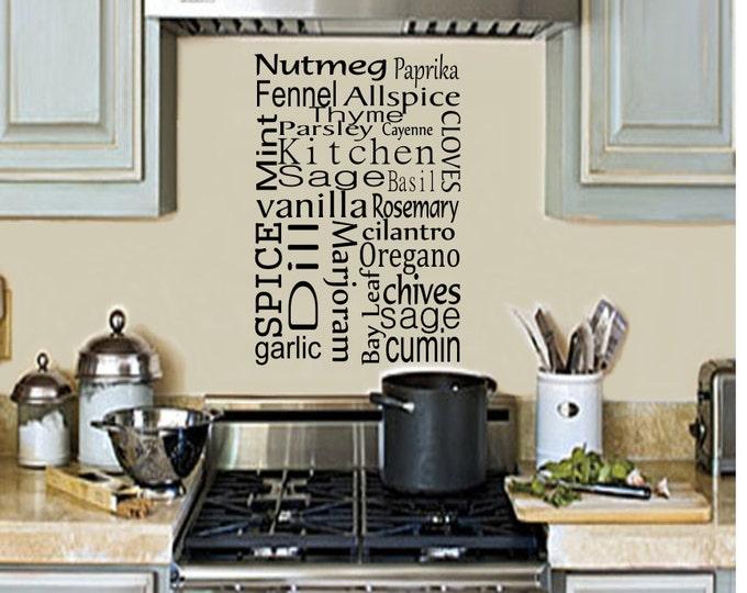 Kitchen Wall Decal -Kitchen Spice Vinyl Wall Decal- Kitchen Decal - Kitchen Decor-Kitchen Art Kitchen Wall Decor-Kitchen Wall Decor