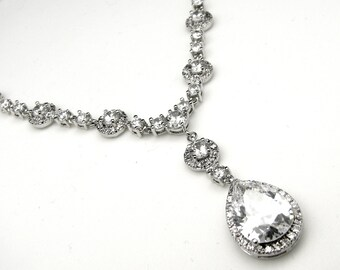 Bridal clear white AAA cubic zirconia y shape luxury white gold teardrop necklace - Free US shipping