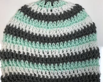 Three-Tone Striped Crochet Hat