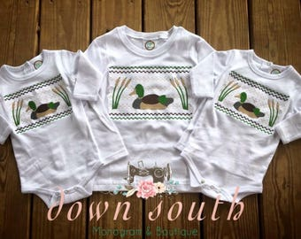 Faux smocked duck shirt