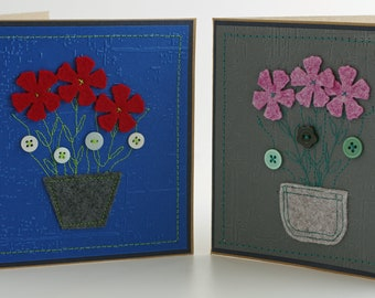2 home made greetings cards, made with kraft card, felt and paper.