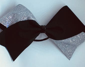 Black and silver glitter Cheer Bow