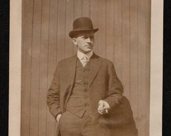 Antique Snapshot Photo Handsome Smoking Man Wearing Bowler 1910's, Original Found Photo, Vernacular Photography