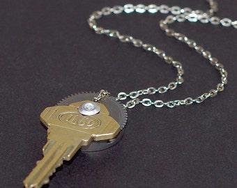 Steampunk Key Necklace- Upcycled Brass Key Necklace, Silver Clock Gear Necklace, Steampunk Jewelry, Steampunk Necklace, Old Key Pendant