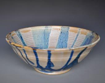 Blue Ceramic Salad Bowl Pottery Serving Pasta Bowl A