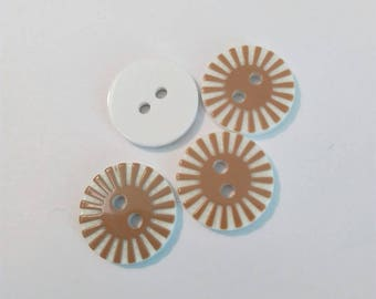 Set of 4 round buttons with Sun pattern, Brown and white