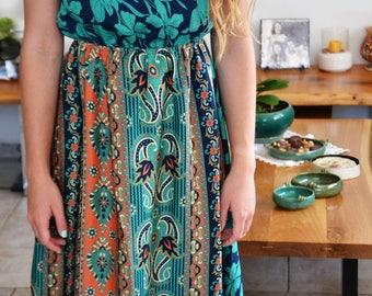gypsy colorful drass\long silk\dress\trible bohemian print silk\Blue\orang and green