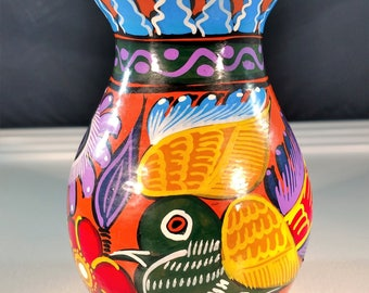 Mexican Hand-Painted Terra Cotta Vase