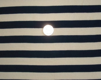 New navy and oatmeal stripe on baby cotton rib knit fabric 1 yd