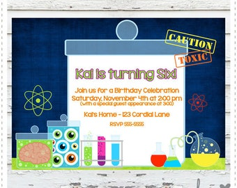 Mad Scientist Birthday Invitation