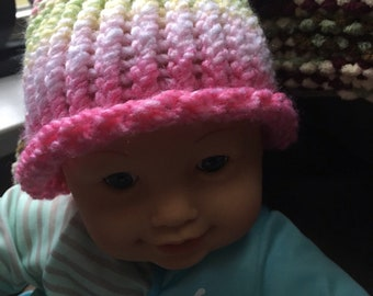 Beautiful rainbow baby hat