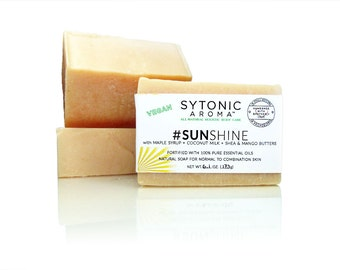 SUNSHINE Soap - Maple Syrup + Coconut Milk + SHEA and Mango Butters (6.0 to 6.5 oz.) - All Natural, VEGAN, Handmade Soap