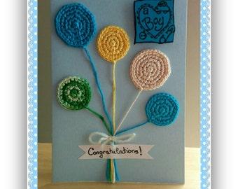 Crochet Balloons Greeting Card, Congratulations New Baby Boy Card, Handmade It's A Boy Card, Crochet Baby Boy Card