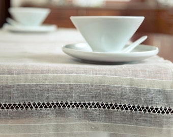 Linen  Table Runner With/ Sheer table runner with 2-rows Handstitching at Ends/ Transparent table cover/ Linen gift/ Christmas gift luxury