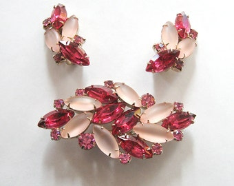 Pink Rhinestone Demi Parure, Juliana Satin Glass Brooch Earrings Set, Blush Pink, Raspberry Red, Hot Pink, Mid Century Jewelry