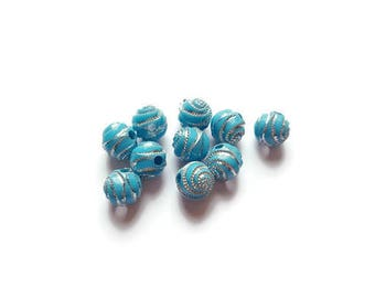 Clear 8mm blue round spiral beads