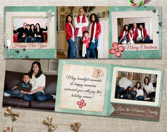 Trifold Christmas Photo Card - 5x5 Printable Download, Multi Photo - Distressed, Rustic, Snowflakes - Happy New Year, Seasons Greetings