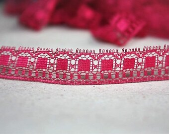 5 Yards = 4.57 Meters of Violet Red Lace Wavy Floral Design For Dolls clothing's Costume Design Scrapbooking Sewing Embellishing Lace Trim