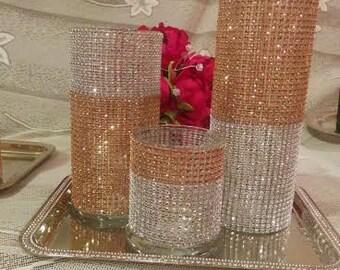Set of 3 Bling Cylinder Vases