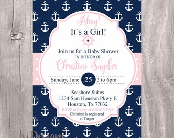 Girl Nautical Baby Shower Invitation, Navy and Pink Printable Invite, Nautical Ahoy Its a Girl Printable Baby Shower Invitation