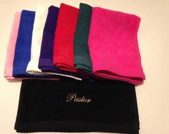 Pastor Towel / Pastor Appreciation Gift/ Religious/ Christian/ Pastor/ Bishop/ Minister/ Elder/ Custom Name Pricing Available.