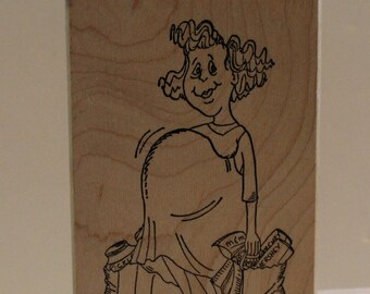 Pregnant Mother Shopping for Baby Rubber Stamp