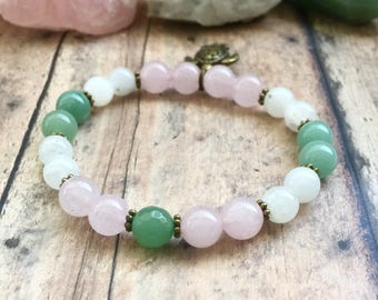 Fertility Bracelet, Moonstone, Aventurine Bracelet, Fertile Turtle Bracelet, Fertility Hope Jewelry, TTC Bracelet, Fertility Crystals.