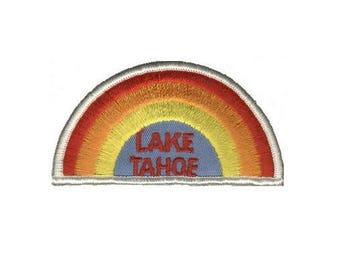 Vintage Lake Tahoe Patch - Rainbow (Iron on)