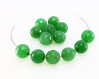 10 LBP00012 10mm faceted natural green Aventurine beads