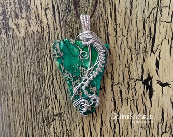 PENDANT-Green Dyed Imperial Jasper silver plated wire wrapped Pendant