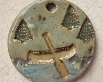 Large Glazed Pottery Pet Cremains Motif Pendant or Ornament - Custom Memorial Pet Cremation Keepsake -  PRIMITIVE CANOE