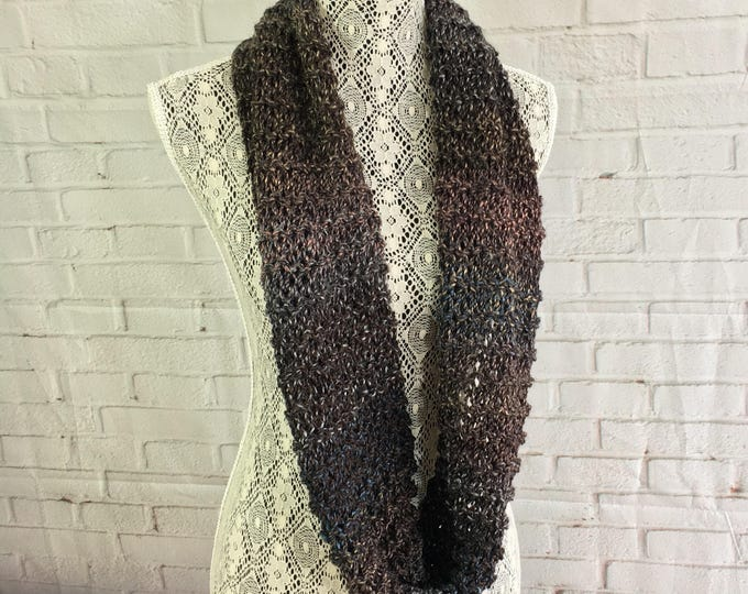 Hand knitted brown and beige light infinity scarf / gifts for her / gift ideas / made in Canada / knitted scarf / wool scarf / ready to ship