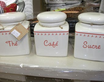 494) set of 3 ceramic kitchen canisters