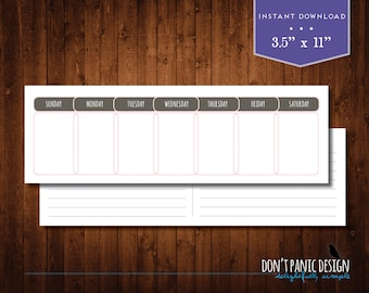 Printable Perpetual Weekly Calendar - Casual Pink Brown Daily Calendar - Instant Download
