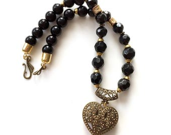 BLACK BEAD NECKLACE Gold Filigree Heart  Statement