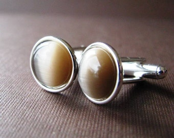 Champagne and Silver  - Silver Plated Cufflinks For the Groom or Groomsman with Light Beige Catseye Glass Embellishment