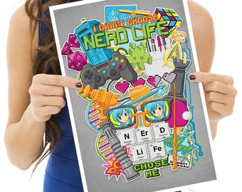 Nerd Life Print- gifts for nerds- gifts for geeks- nerdy-gamer- D & D- pop culture-art print-wall decor- video games- wall art-tardis-sci fi
