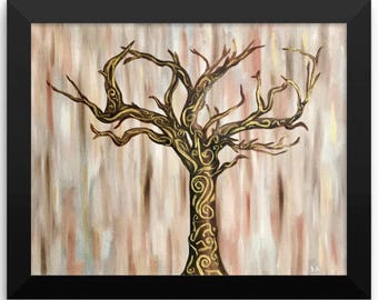 Framed Poster Print of Whimsical Tree of Life Abstract Art
