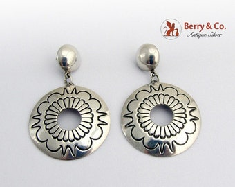 SaLe! sALe! Round Engraved Dangle Earrings Sterling Silver