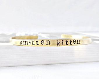 Smitten Kitten, Skinny Cuff, funny jewelry, funny valentine gift for girlfriend, long distance relationship, romantic jewelry girlfriend