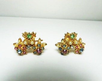 Vintage Pastel Rhinestone Earrings With White Seed Pearls  Rich Gold Tone Floral Screw Back Earrings  Vintage
