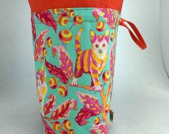 Disco Kitties - Knitting, Crochet or Fiber-work Project Bag