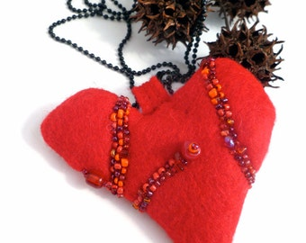 Red felt pendant heart necklace fiber art, bead embroidery, hand stitched, handcrafted, unique design, statement jewelry Valentine V