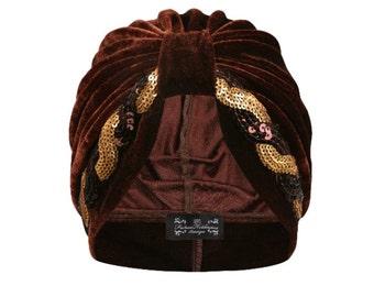 Evangeline Sequin Velvet Turban