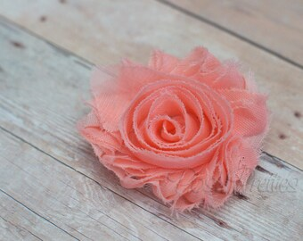 Peach Shabby Flower Hair Clip