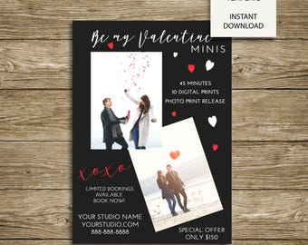 Valentine's Day Mini Sessions  - 7x5 Photoshop MarketingTemplate - INSTANT DOWNLOAD