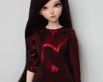 Dark red metalic batwing blouse for minifee and similar slim msd dolls