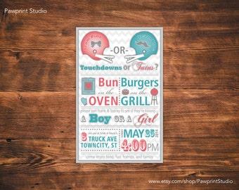 CUSTOM PRINTABLE Invitation: Gender Reveal Baby BBQ Invitation (Customizable)