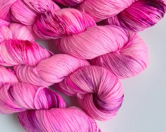 Hand-dyed yarn, Indie dyed yarn, hand dyed yarn I'M a BARBIE GIRL --dyed to order-- Times Square sock weight merino/nylon yarn